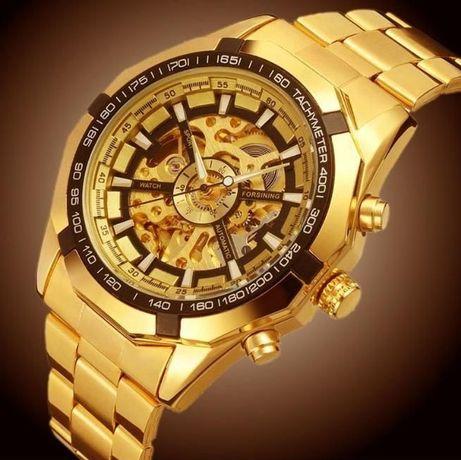 ПОЗЛАТЕНИ с 18карата злато Автоматични часовници WINNER GOLD SKELETON