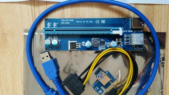 PCI-E PCI E Express 1X to 16X Riser Card + USB 3.0 Extender Cable
