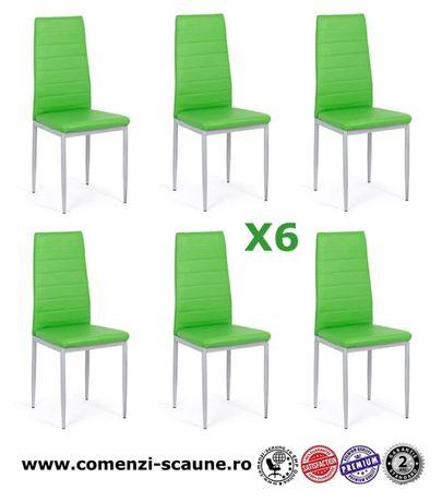 Set 6 scaune de bucatarie din piele ecologica- culoarea VERDE