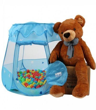 Детска палатка със 100 разноцветни топки - синя