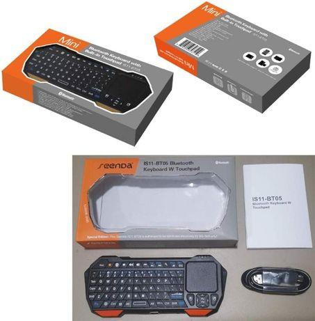 Mini tastatură iluminata cu Bluetooth, mouse integrat, acumulator,