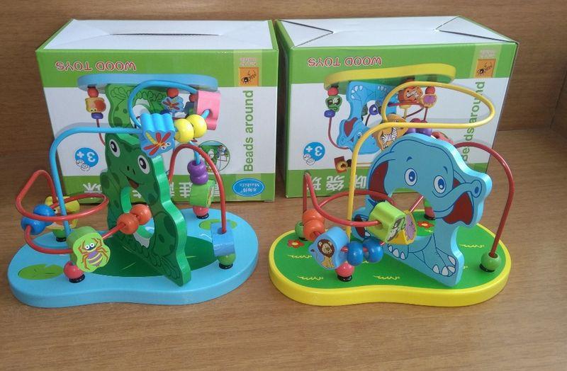 Дървен сортер низанка Слонче и Жабка всички дървени играчки гр. Бургас - image 1