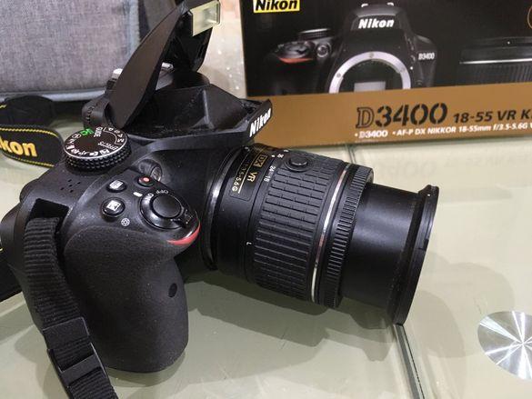Никон Д3400 К-т обектив, чанта, зарядно, карта 64ГВ