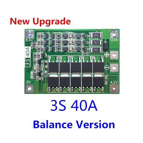 3S BMS 12.6V 40A, защитна платка с балансно зареждане, PCB BMS board
