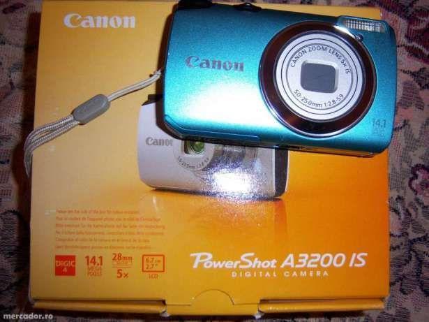 Canon A3200 IS albastru plus husa si baterie