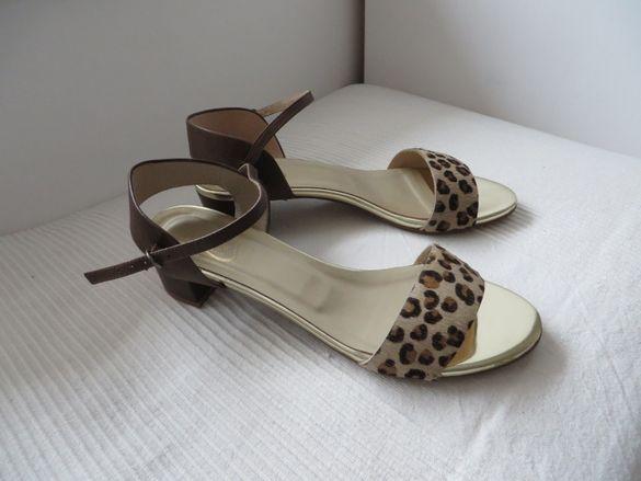 Нови испански сандали естествена кожа, 40, кафяво-злато-леопард