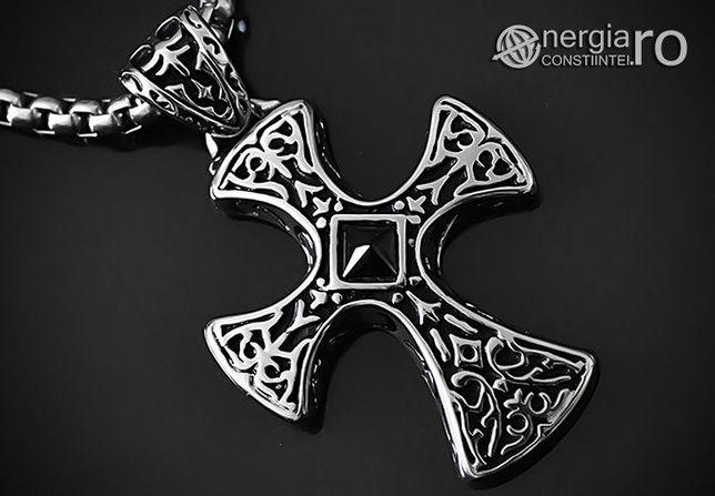 Pandantiv Amuleta Cruciulita Celtica din INOX cu Onix - cod PND005