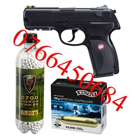 Pachet Airsoft Pistol C02 Ruger P345 2,8 + 2700 Bile + 10 Capsule co2