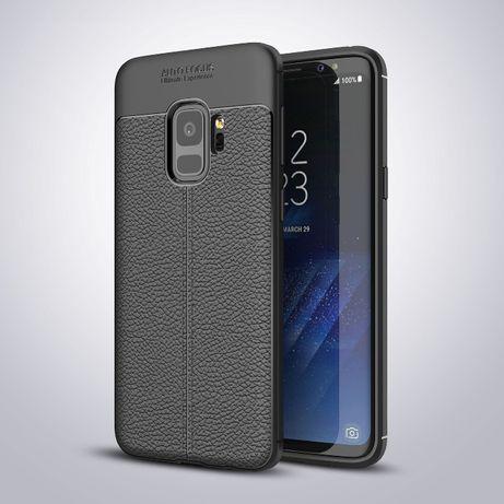 Husa Samsung S9, silicon + TPU cu model piele, back cover, CaseMe