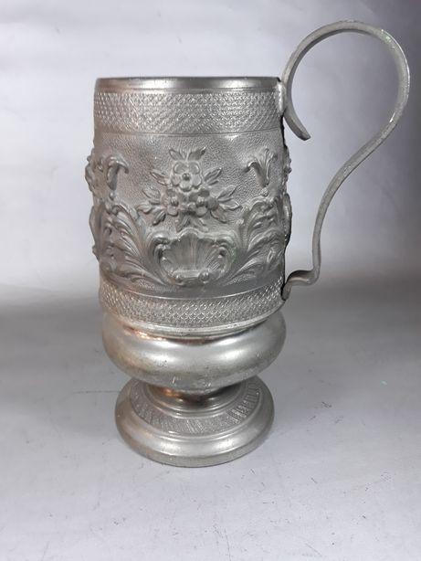 Halbă zinc cantă cană pahar din metal macheta de colecție original