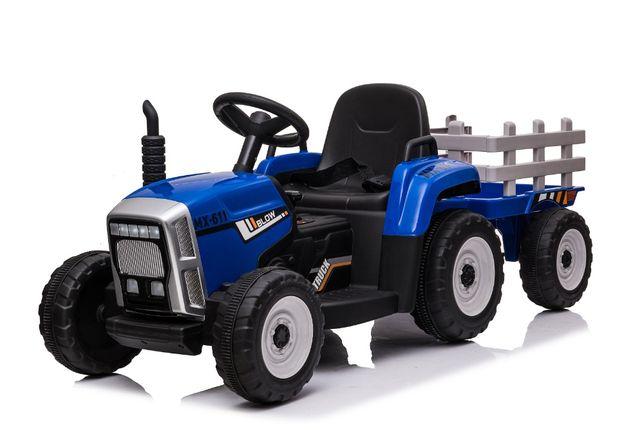 Tractoras electric BJ-611 cu remorca si telecomanda STANDARD #Albastru