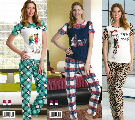 Дамски пижами/памучна дамска пижама - топ качество 100% памук