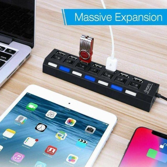USB хъб, разклонител със 7 порта и индивидуални ключове, до 480Mbps
