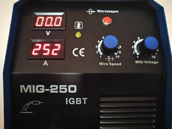 ТОП ЦЕНА Професионално Инверторно Телоподаващо MIG250А -4м евро шланг