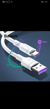 Cablu 2M usbC 5A Huawei Super Fast Charge si 2A Samsung Quick Charge
