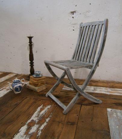 Scaun vechi din lemn reconditionat, pliabil (Mobila veche)