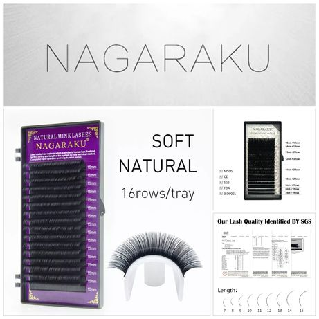 Висококачествени черни мигли Nagaraku за миглопластика консумативи
