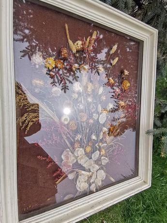 Vând tablou vintage cu flori uscate