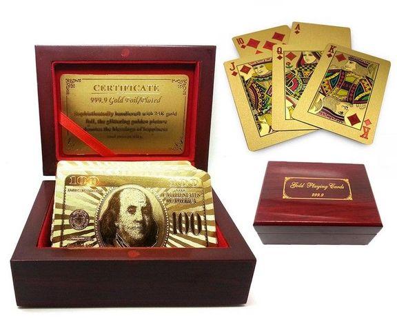 Луксозен комплект Златни карти за игра + Дървена кутия + Сертификат
