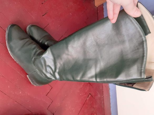 Зелени ботуши естествена кожа