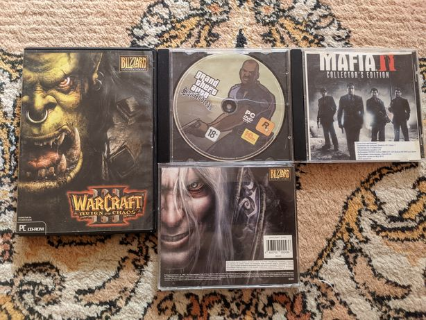 Диски игр Warcraft/Warcraft 2, Mafia 2, Grand theft auto San Andreas
