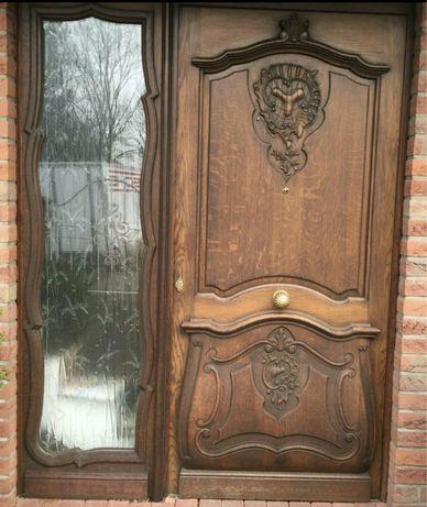 Usa casa vila firma intrare lemn geam vitraliu termopan H 223 x L 174