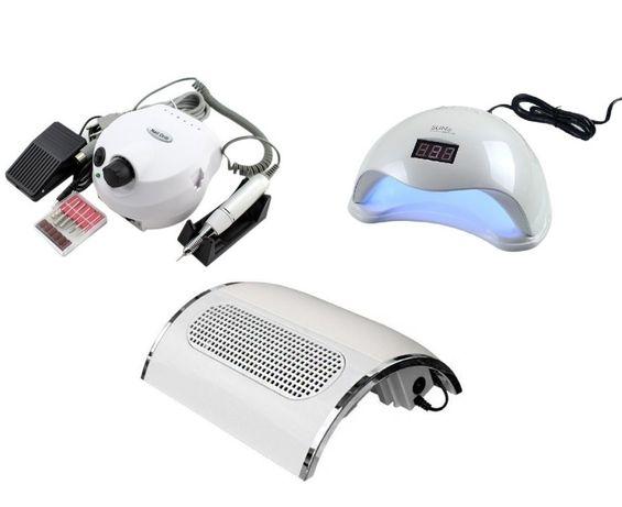 KIT aparate, Lampa Uv LED Sun5, Freza unghii 35000RPM, Aspirator praf