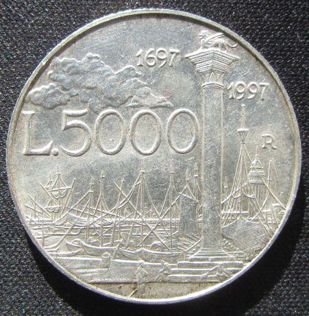 5000 lire argint 1697-1997 Italia