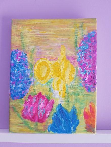 Авторска картина Пролетни цветя, акрил, 24/18 см