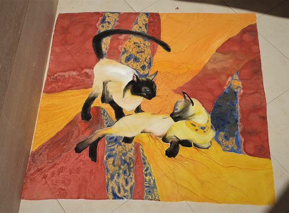 кърпичка, рисувана върху коприна . Сиамски котки.Красив подарък