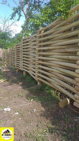Gard din Lemn Rotund Impletit - Montaj si Transport Asigurat!