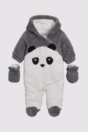 Salopeta costumas iarna panda bebe - Next original - 0-4 luni