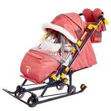 Санки-коляска НИКА «Disney baby 1» Тигруля (лимонный) с колесами