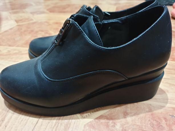 Туфли чёрные кожанные, Турецкие, 36,5 размер