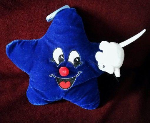Плюшена играчка синя звезда с бяла мишка