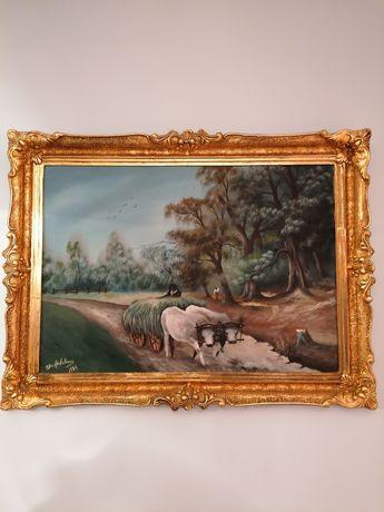 Vand tablou pictat pe panza in ulei