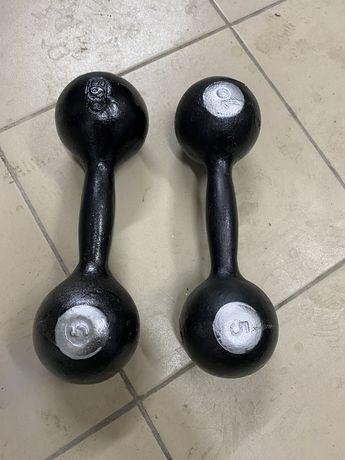 Гантеля по 5 кг 2штук -15000 тг СССР