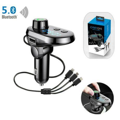 Авто FM Трансмитер Q15, Bluetooth фукнция, три кабела за зареждане