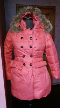 Ново яке с гъши пух и лисица на качулката. 152 см