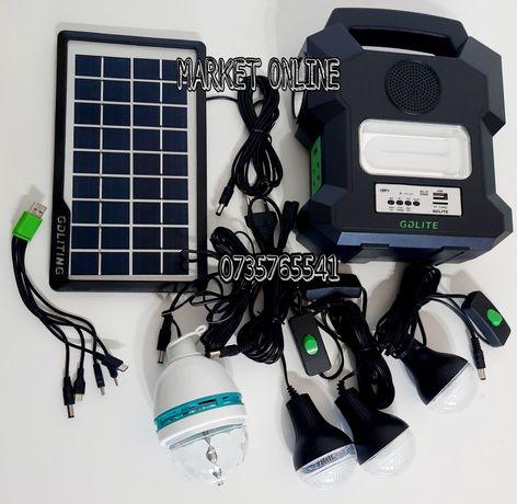 Kit solar portabil Gdlite GD1000A bluetooth USB MP3 Radio FM 4 becuri