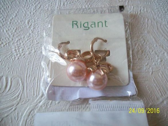 Обеци с розови перлички