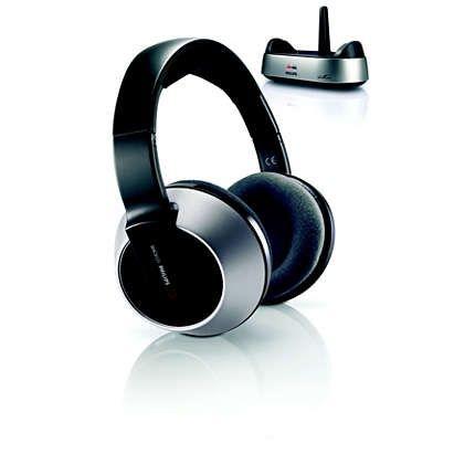 Philips Безжични Hi-Fi слушалки SHC8525 Зарядна поставка, FM предаване