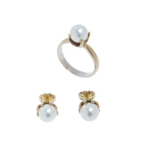 Set, cercei si inel, din aur alb 18K cu perla, circumferinta - 56 mm