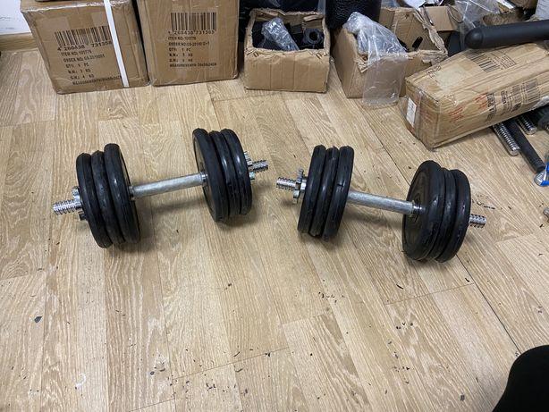 Gantere reglabile cauciucate pt. Acasa set 20 kg-10+10 kg=20 kg noi