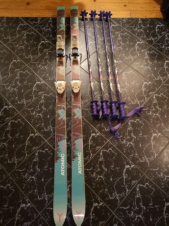 Schiuri ATOMIC 180 cm + 2 perechi bețe - Impecabile