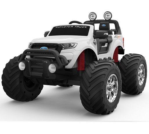 Masinuta electrică pentru 2 copii Ford Monster TRUCK 4x4 24V 7Ah #ALB