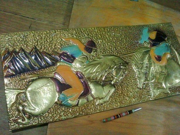 Большая Чеканка панно по металлу ( латунь ) картина на 65см на 30 см