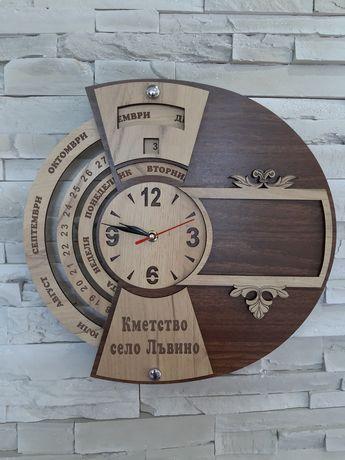 Дървен вечен календар с часовник и рамка за снимка