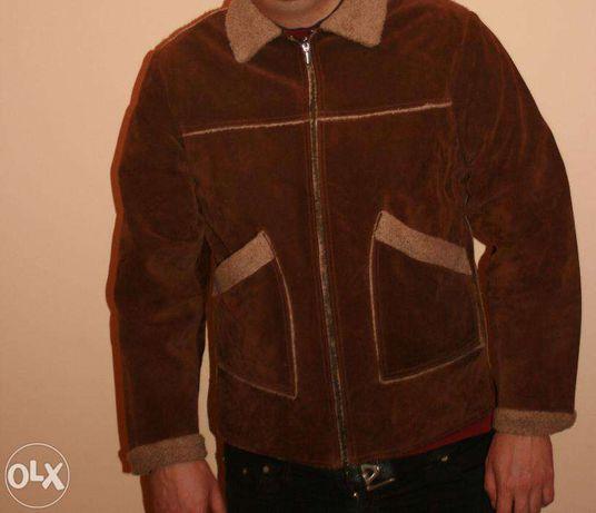 Cojoc barbati de piele naturala maro XL / 44-46- haina blana