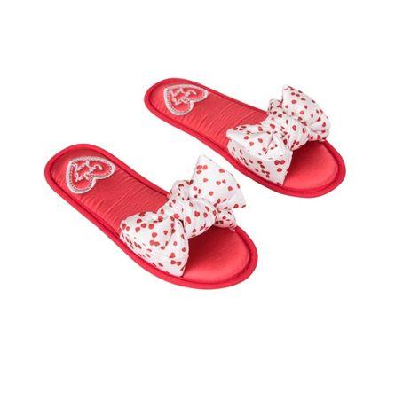 Papuci Incaltaminte din satin rosu cu alb Valentine's Day Slippers